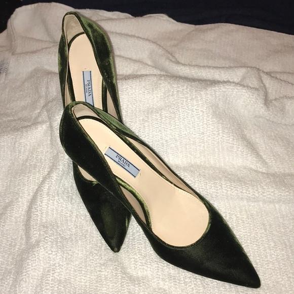 Prada Shoes | Prada Dark Green Velvet